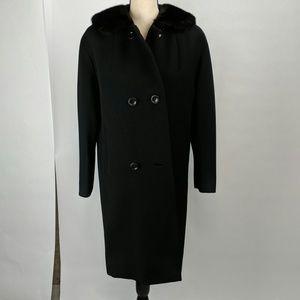 Vintage 1960 Union label coat with fur trim black
